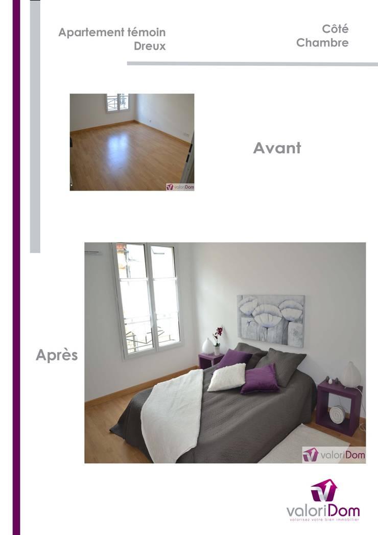 Décoration d'Appartement témoin: Chambre de style  par valoridom