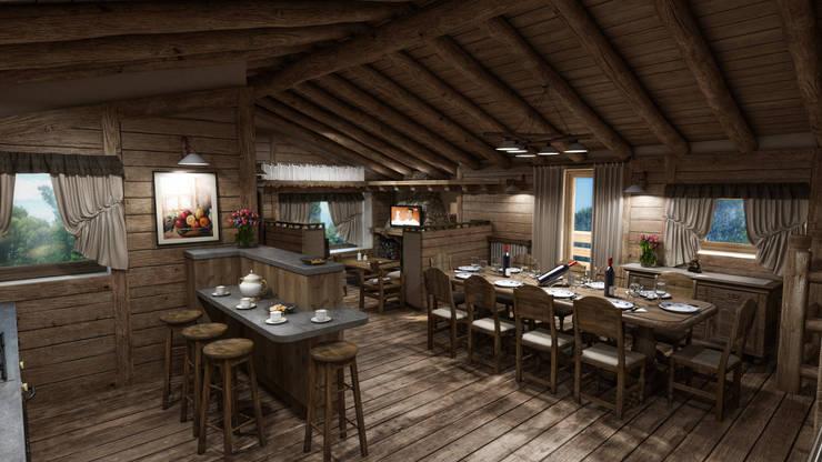 rustic Dining room by studiosagitair