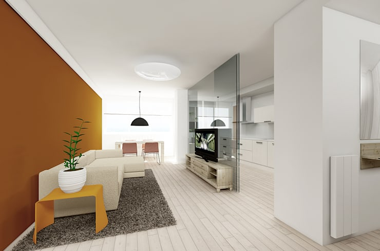 Piso de 67m2: Salones de estilo moderno de Interior03