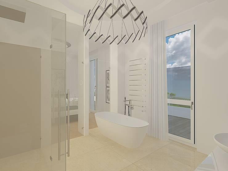 Entwurf und Visualisierung Badezimmer, Penthouse Wohnung Düsseldorf-Pempelfort:   von Topali Innenarchitektur
