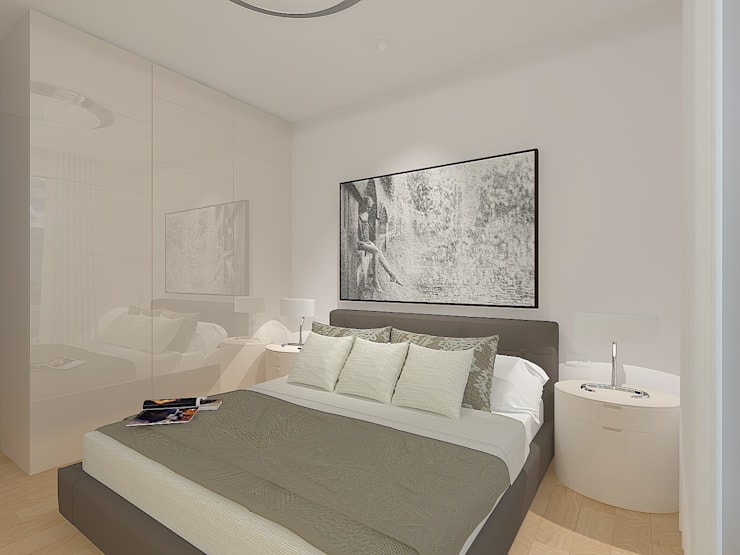 Entwurf und Visualisierung Schlafraum Penthouse Wohnung Düsseldorf_Pempelfort:   von Topali Innenarchitektur