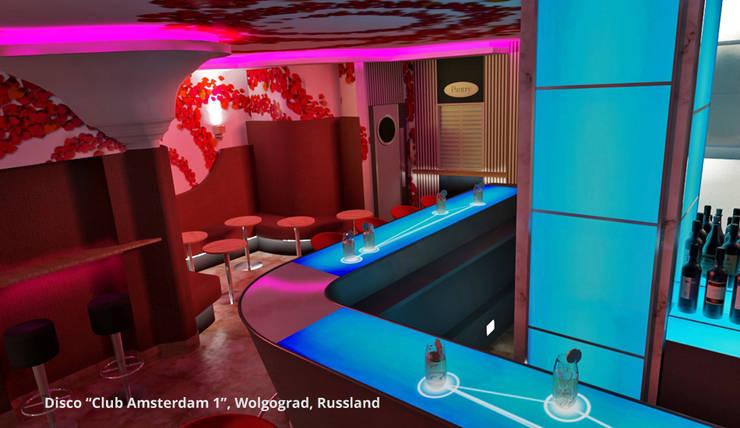 Innenarchitektonische Gesamtkonzeption Disco <q>Club Amsterdam 1</q> – Wolgograd, Russland:  Gastronomie von GID│GOLDMANN-INTERIOR-DESIGN - Innenarchitekt in Sehnde,Modern Glas