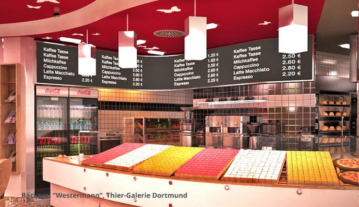 Innenarchitektonische Gesamtkonzeption Bäckerei Westermann - Dortmund:  Gastronomie von GID│GOLDMANN-INTERIOR-DESIGN - Innenarchitekt in Sehnde,