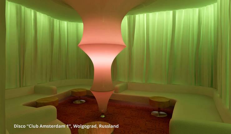 Innenarchitektonische Gesamtkonzeption Disco <q>Club Amsterdam 1</q> – Wolgograd, Russland:  Gastronomie von GID│GOLDMANN-INTERIOR-DESIGN - Innenarchitekt in Sehnde,Modern