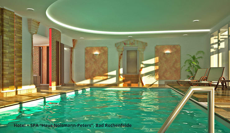 "Schwimmbadsanierung und neue Innenarchitektur im Hotel ""Noltmann-Peters"" - Bad Rothenfelde:  Hotels von GID│GOLDMANN-INTERIOR-DESIGN - Innenarchitekt in Sehnde"