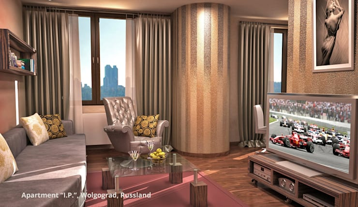 Ruang Keluarga oleh GID│GOLDMANN-INTERIOR-DESIGN - Innenarchitekt in Sehnde, Modern