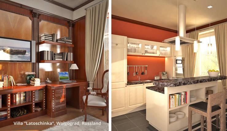 Innenarchitektonische Neugestaltung Villa <q>Latoschinka</q> – Wolgograd, Russland:  Küche von GID│GOLDMANN-INTERIOR-DESIGN - Innenarchitekt in Sehnde,Klassisch