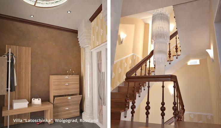 Innenarchitektonische Neugestaltung Villa <q>Latoschinka</q> – Wolgograd, Russland:  Flur & Diele von GID│GOLDMANN-INTERIOR-DESIGN - Innenarchitekt in Sehnde,Klassisch