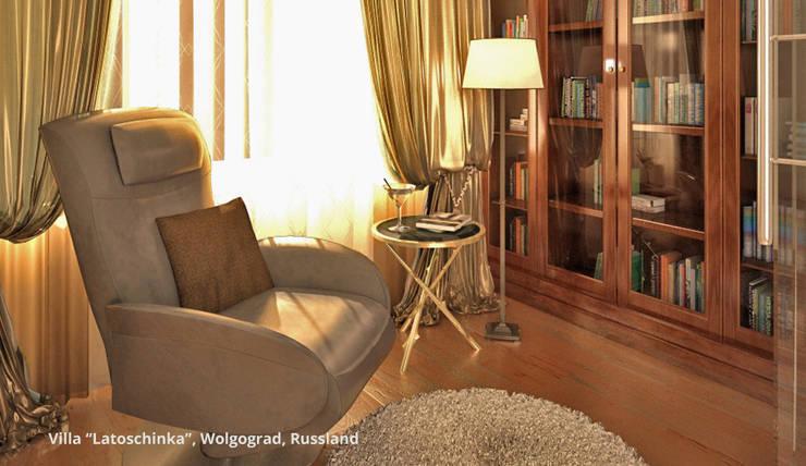Innenarchitektonische Neugestaltung Villa <q>Latoschinka</q> – Wolgograd, Russland:  Wohnzimmer von GID│GOLDMANN-INTERIOR-DESIGN - Innenarchitekt in Sehnde,Klassisch