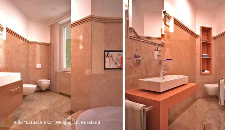 Innenarchitektonische Neugestaltung Villa <q>Latoschinka</q> – Wolgograd, Russland:  Badezimmer von GID│GOLDMANN-INTERIOR-DESIGN - Innenarchitekt in Sehnde,Klassisch