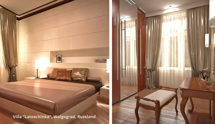 Innenarchitektonische Neugestaltung Villa <q>Latoschinka</q> – Wolgograd, Russland:  Schlafzimmer von GID│GOLDMANN-INTERIOR-DESIGN - Innenarchitekt in Sehnde,Klassisch