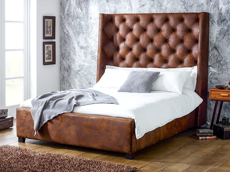 Arthur Tall Faux Leather Bed: modern Bedroom by Living It Up