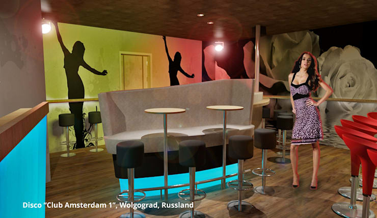 Innenarchitektonische Gesamtkonzeption Disco <q>Club Amsterdam 1</q> – Wolgograd, Russland:  Gastronomie von GID│GOLDMANN-INTERIOR-DESIGN - Innenarchitekt in Sehnde,Modern Holzwerkstoff Transparent