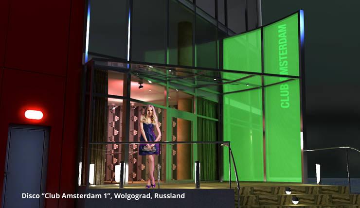 """Innenarchitektonische Gesamtkonzeption Disco """"Club Amsterdam 1"""" - Wolgograd, Russland:  Gastronomie von GID│GOLDMANN-INTERIOR-DESIGN - Innenarchitekt in Sehnde,Modern Glas"""