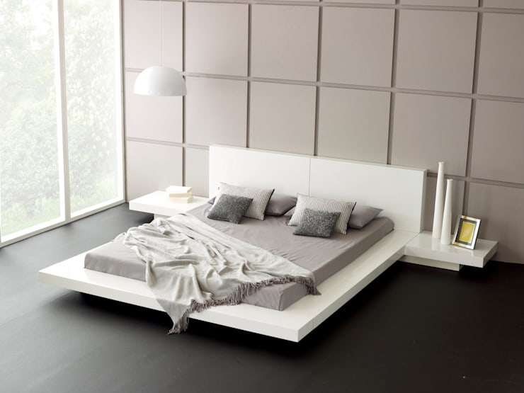 Emer White Bed:  Bedroom by Living It Up