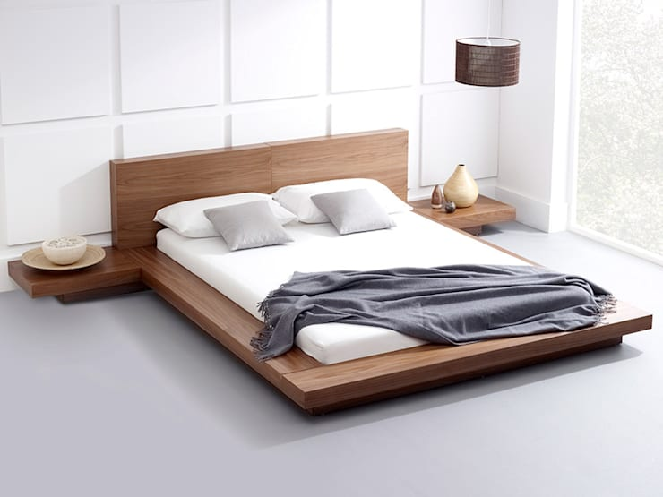 Emer Natural Walnut Bed:  Bedroom by Living It Up