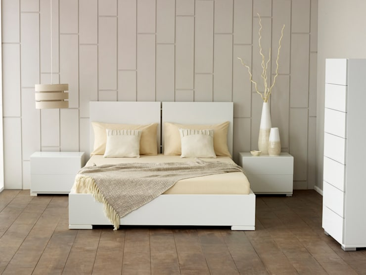 Verona White Bed:  Bedroom by Living It Up