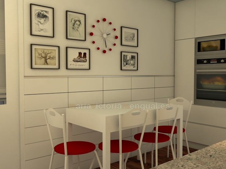 Cocina moderna en menos de 10 metros cuadrados: Cocinas de estilo  de MUMARQ ARQUITECTURA E INTERIORISMO