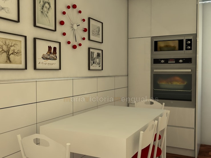 Zona de horno y mesa: Cocinas de estilo  de MUMARQ ARQUITECTURA E INTERIORISMO