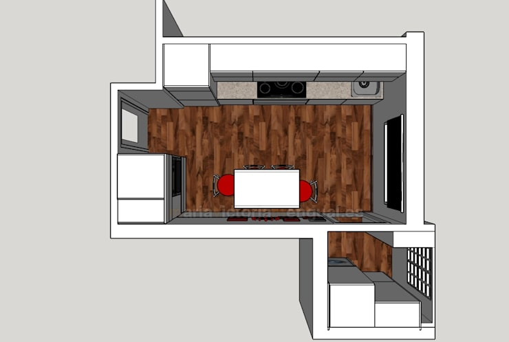 Plano de planta de cocina en 3D: Cocinas de estilo  de MUMARQ ARQUITECTURA E INTERIORISMO
