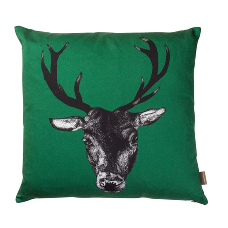 Stag Cushion in Green by Lisa Bliss:  Living room by Anthea's Home Store