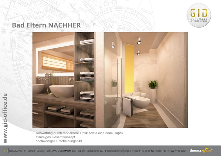 Bathroom by GID│GOLDMANN-INTERIOR-DESIGN - Innenarchitekt in Sehnde, Modern
