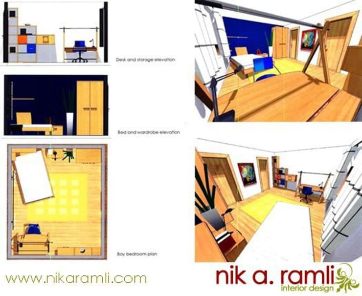 12 Year Old Boy Bedroom:  Bedroom by Nik A Ramli Interior Design