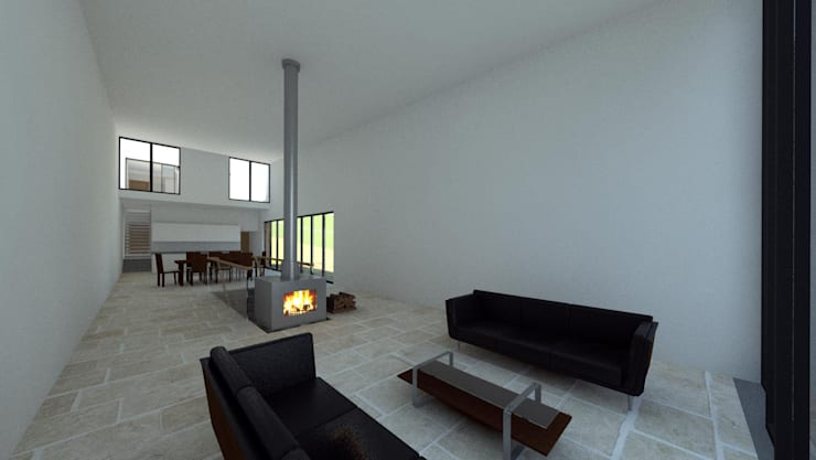 House In Nova Scotia, Canada:  Living room by 4D Studio Architects and Interior Designers