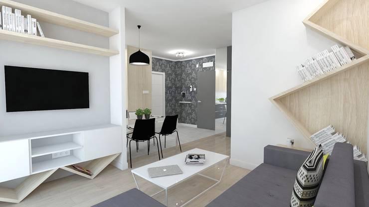 Mieszkanie 49m2: styl , w kategorii Salon zaprojektowany przez WNĘTRZNOŚCI Projektowanie wnętrz i mebli