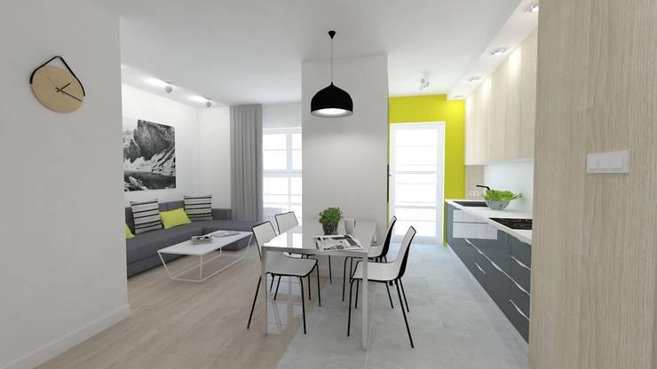 Mieszkanie 49m2: styl , w kategorii Jadalnia zaprojektowany przez WNĘTRZNOŚCI Projektowanie wnętrz i mebli