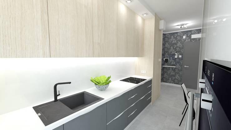 Mieszkanie 49m2: styl , w kategorii Kuchnia zaprojektowany przez WNĘTRZNOŚCI Projektowanie wnętrz i mebli