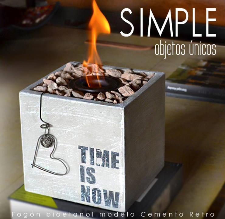 Fogón a bioetanol modelo Cemento Retro:  de estilo  por Simple Objetos Unicos,Rústico