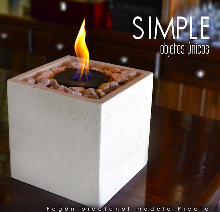 Fogón a bioetanol modelo Piedra:  de estilo  por Simple Objetos Unicos,Rústico