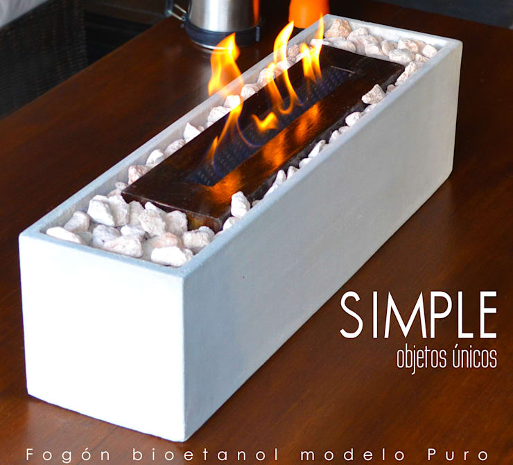 Fogón a bioetanol modelo Puro:  de estilo  por Simple Objetos Unicos,Rústico