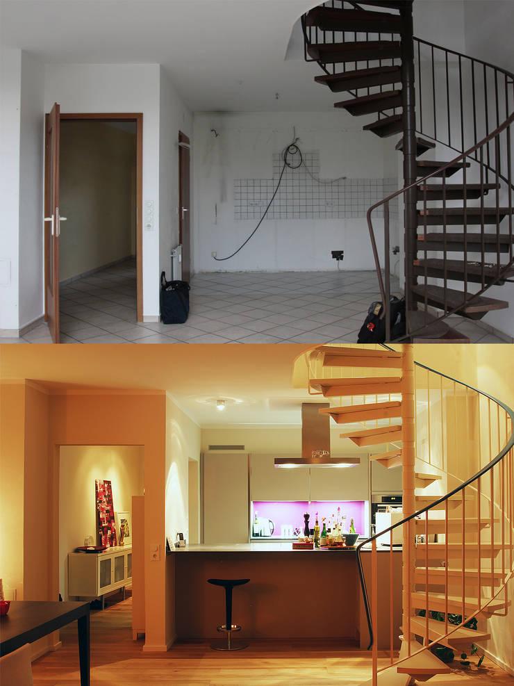 Die Küche vorher und nachher:   von Wohnwert Innenarchitektur