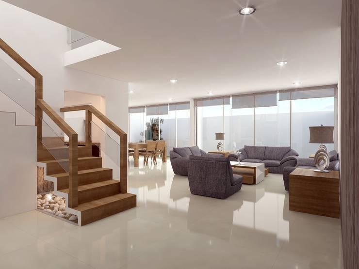 PRACTICIDAD Y LUZ: Casas de estilo  por SYD CONSTRUCTORES