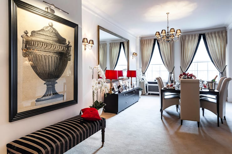 Mayfair Private Residence:  Living room by FADI CHERRY | design studio