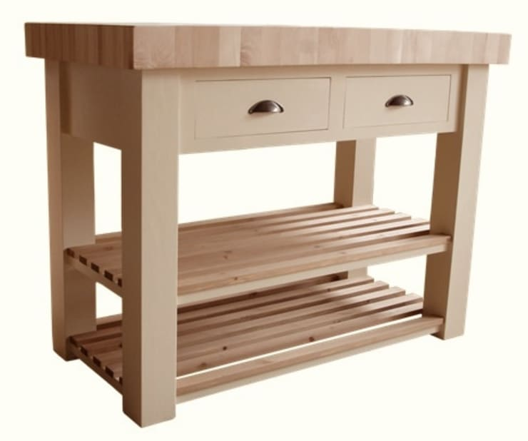 Butchers block island—end grain beech:   by Country Interiors