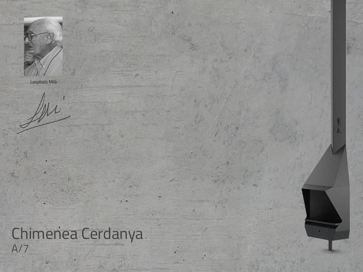 Chimenea Mod. CERDANYA: Salones de estilo  de DAE chimeneas