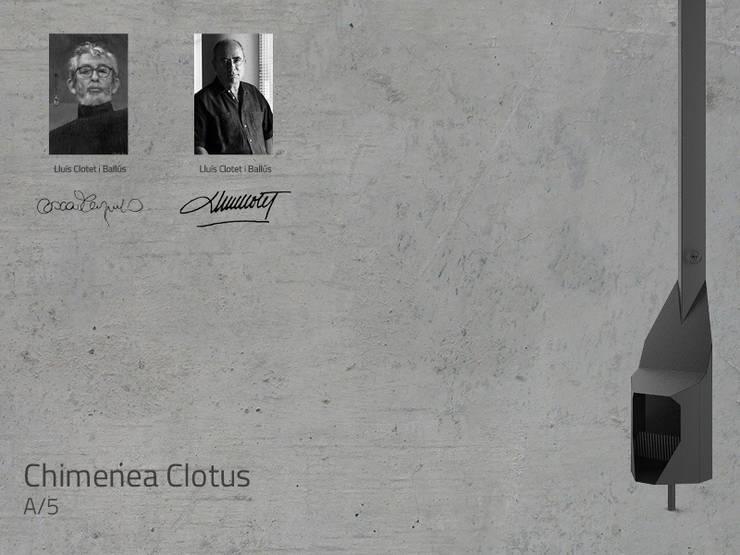 Chimenea Mod. CLOTUS: Salones de estilo  de DAE chimeneas