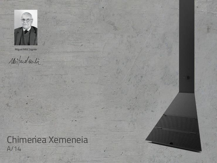 Chimenea Mod. XEMENEIA: Salones de estilo  de DAE chimeneas