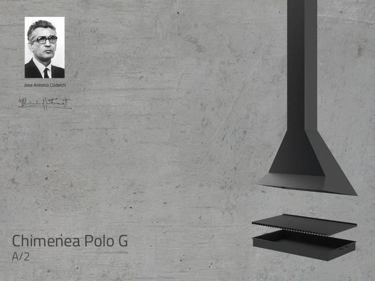 Chimenea Mod. POLO G: Salones de estilo  de DAE chimeneas