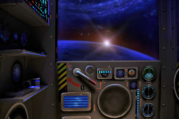 WC et vaisseau spatial: Salle de bain de style  par Atelier Frederic Gracia
