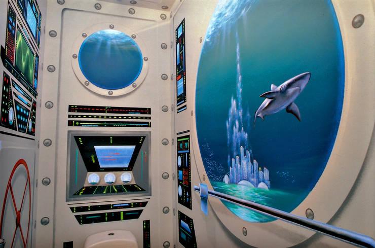 WC sous-marin: Salle de bains de style  par Atelier Frederic Gracia