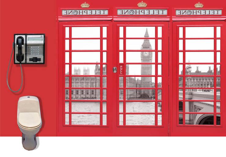WC  téléphoniques : Salle de bains de style  par Atelier Frederic Gracia