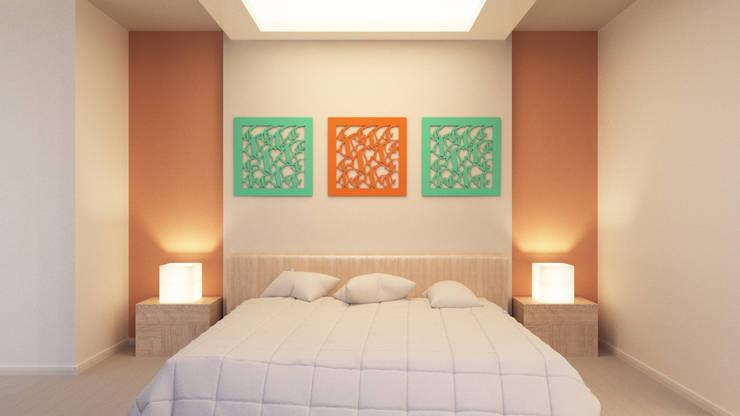 Ламбрекены и аппликации: визуализация в интерьере : Спальная комната  в . Автор – OK Interior Design,