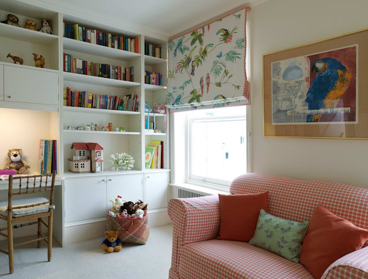 Belgravia - Section of a Childs' Bedroom with shelving unit and cupboards.:  Bedroom by Meltons