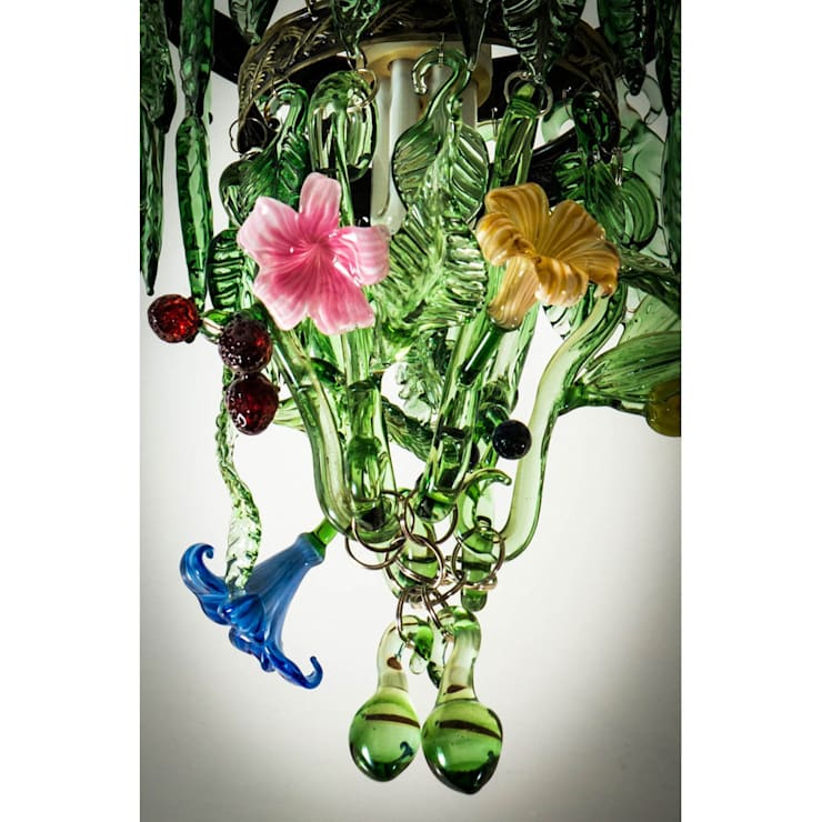 Fruit and Flowers custom glass chandelier:  Living room by A Flame with Desire