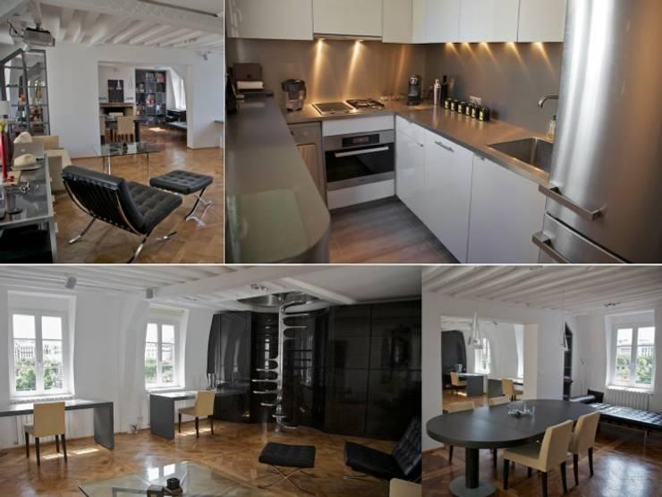 Rénovation et décoration appartement parisien: Salon de style  par PATRICIA FRANCOIS