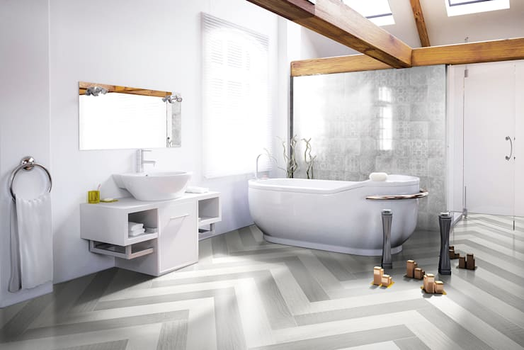 Betonwood + Betonepoque: Pareti & Pavimenti in stile in stile Eclettico di Mosaicnet srl